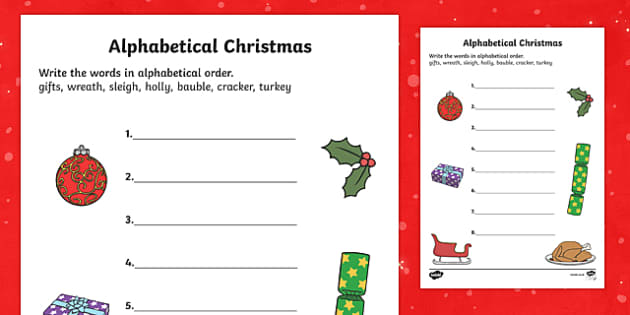 Christmas Alphabet Ordering Activity Sheet, worksheet