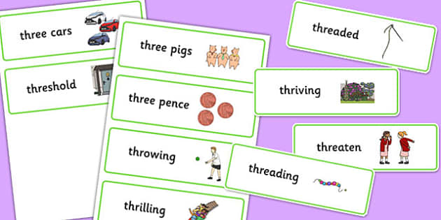 Two Syllable THR Word Cards - speech sounds, phonology, articulation, speech therapy, cluster reduction