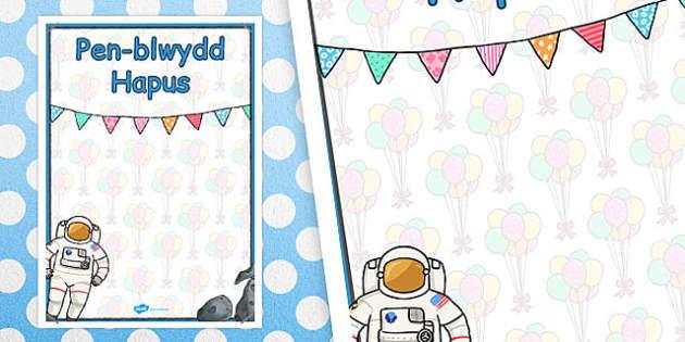 Poster Pen-blwydd Hapus - Y Gofod - celebrate, birth, welsh, cymraeg