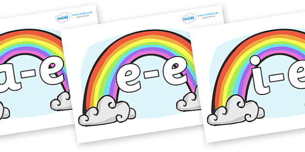 Modifying E Letters on Rainbows - Modifying E, letters, modify, Phase 5, Phase five, alternative spellings for phonemes, DfES letters and Sounds