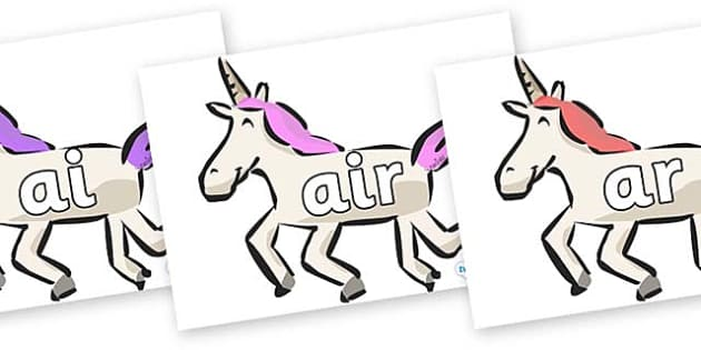 Phase 3 Phonemes on Unicorns - Phonemes, phoneme, Phase 3, Phase three, Foundation, Literacy, Letters and Sounds, DfES, display