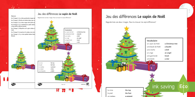 Christmas Tree Spot the Differences Activity Sheet-French