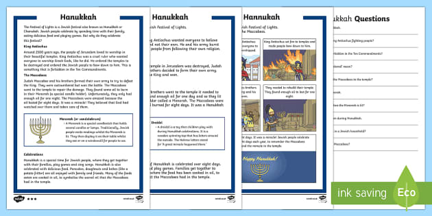 KS1 Hanukkah Differentiated Reading Comprehension Activity - Hannukah, 24th Dec, Judaism, festival of light, menorah, Jerusalem, Judah Maccabee, Maccabees, broth