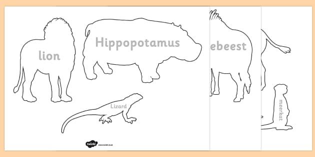 Safari Safari Animal Shadow Puppet Templates - template, animals, drawing