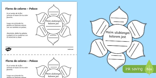 Ficha de actividad Flores de colores - polaco