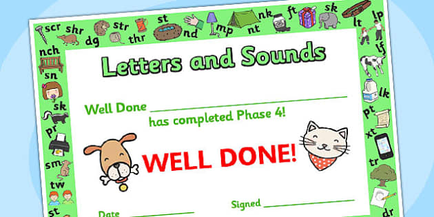 Letters and Sounds Award Certificates Phase 4 - Letters And Sounds, Phase 4, Letters Certificate, Sounds Cerificate, Phase 4 Certificate