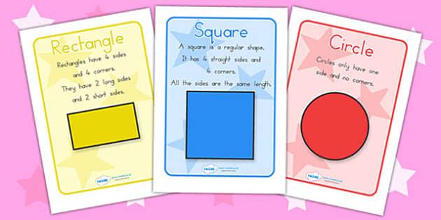 2D Shape Information Poster - 2D, shapes, 2D shapes, shape poster