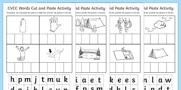 Cut and Paste Worksheet - cvcc, cut, paste, worksheet, work