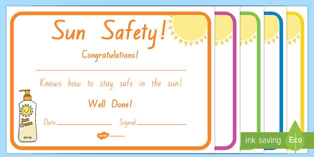 Sun Safe Certificates