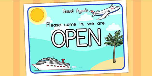 Travel Agents Open Role Play Sign - travel agents, role play, sign