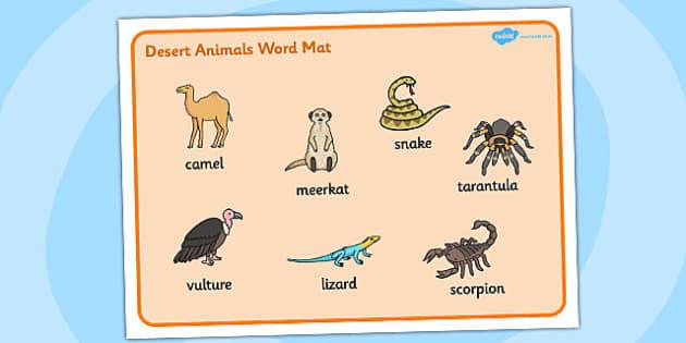 Desert Animals Word Mat - desert, animals, word, mat, word mat