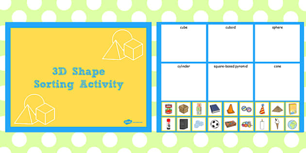 3D Shape Sorting Activity Notebook - activity, 3d, shape, sort