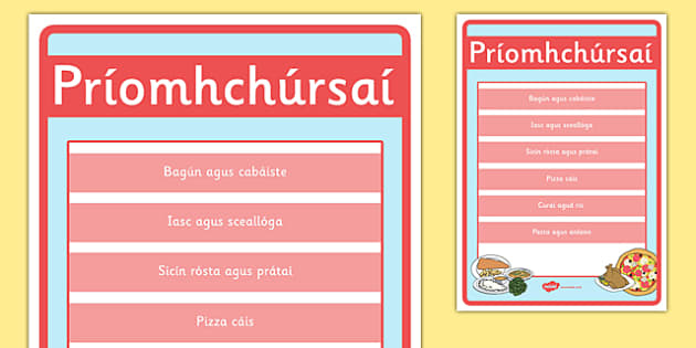 An Bhialann The Restaurant Role Play Main Courses Sign Irish Gaeilge - restaurant, bialann, an bhialann, food, bia, role play, Aistear, menu, display, resource pack, irish, gaeilge, comhra, main courses, priomhchursai