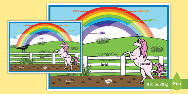 Rainbow Colours - Danish A2 Display Poster