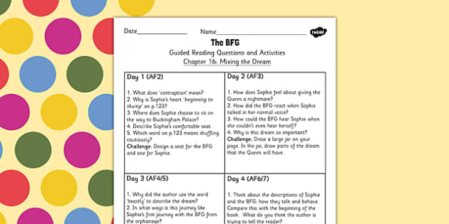 Guided Reading Questions Chapter 16 to Support Teaching on The BFG - Reading, Questions, BFG