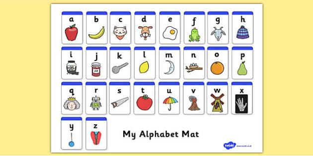 A-Z Alphabet Mat (Phase 1) - Alphabet Mat, DfES Letters and Sounds, Letters and sounds, Letters A-Z, Learning Letters, Phase one, Phase 1 Foundation Letters, Mnemonic images