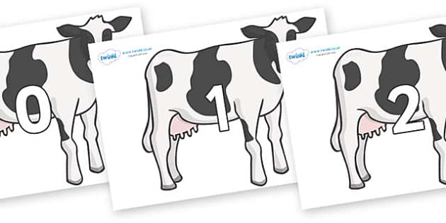 Numbers 0-100 on Cows - 0-100, foundation stage numeracy, Number recognition, Number flashcards, counting, number frieze, Display numbers, number posters