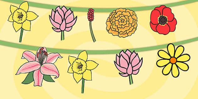 Flower Bunting - flowers, displays, display, posters, poster