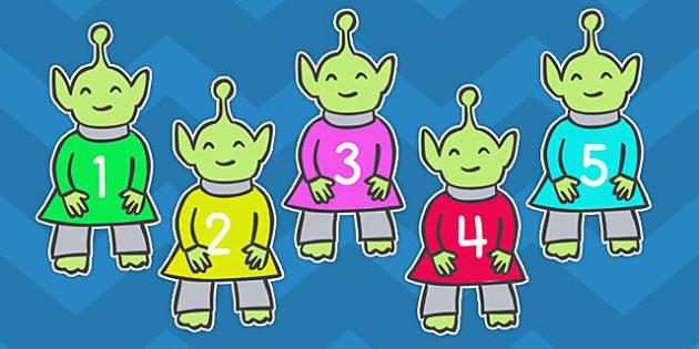 Editable Aliens Numbers 1-100 - editable, aliens, numbers, 1-100