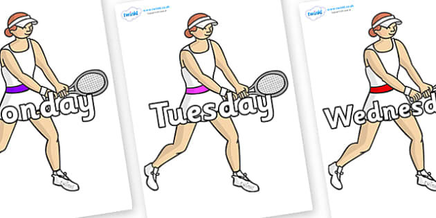 Days of the Week on Tennis Players - Days of the Week, Weeks poster, week, display, poster, frieze, Days, Day, Monday, Tuesday, Wednesday, Thursday, Friday, Saturday, Sunday
