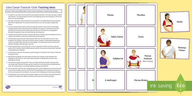 Julius Caesar Character Cards Pack - Julius Caesar, Mark Antony, Brutus, Characters.