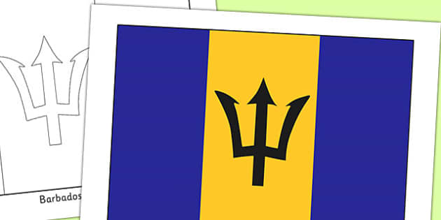 Barbados Flag Display Poster - countries, geography, flags