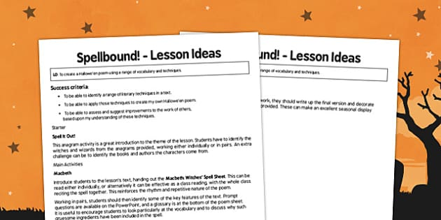 Spellbound Lesson Ideas - spellbound, lesson ideas, lesson, ideas, ks3