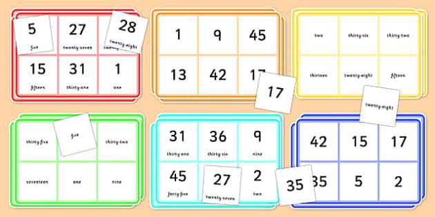Number Words Bingo 0-50 - number words, bingo, activity, 0-50, number, words