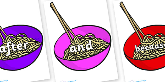 Connectives on Chinese Noodles - Connectives, VCOP, connective resources, connectives display words, connective displays