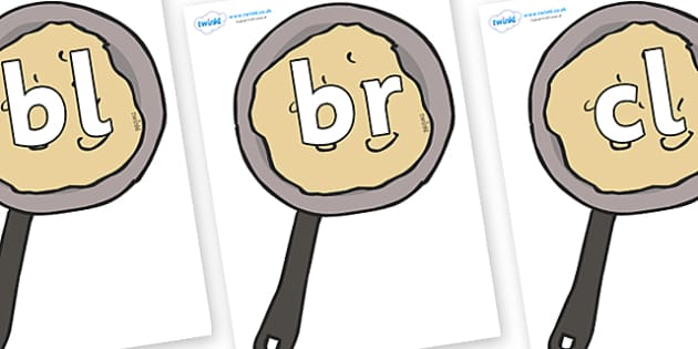 Initial Letter Blends on Pancakes - Initial Letters, initial letter, letter blend, letter blends, consonant, consonants, digraph, trigraph, literacy, alphabet, letters, foundation stage literacy