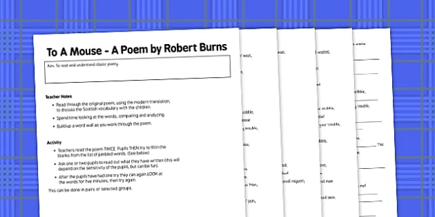Robert Burns To A Mouse Activity - robert burns, to a mouse, activity, poetry