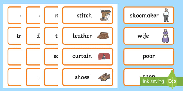 The Elves and the Shoemaker Word Cards - Traditional tale, tales, elves, elf, shoemaker, flashcards, cards, word cards, wife, stitch, leather, danced, shirt, needle, thread, socks, trousers, shoes, workshop, story, fairytale