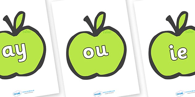 Phase 5 Phonemes on Apples - Phonemes, phoneme, Phase 5, Phase five, Foundation, Literacy, Letters and Sounds, DfES, display