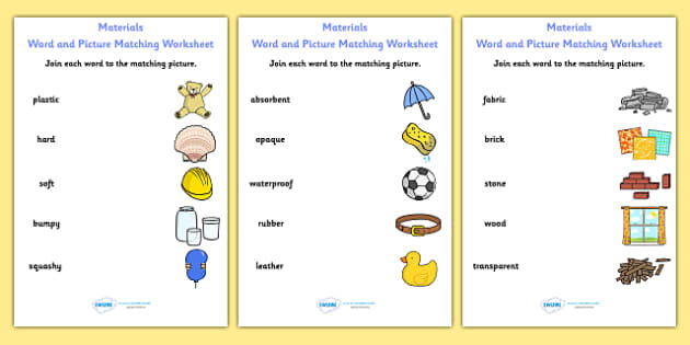 Materials Word and Picture Matching Worksheet - materials, word