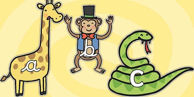 Alphabet on Cute Animals - alphabet, a-z, animals, visual aid