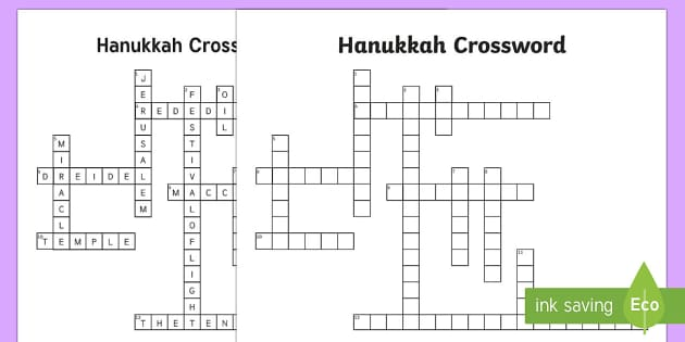 KS2 Hanukkah Crossword - Hanukkah, Jew, Judaism, celebration, light, festival, miracle, Maccabees, oil lamp, crossword, Hanuk