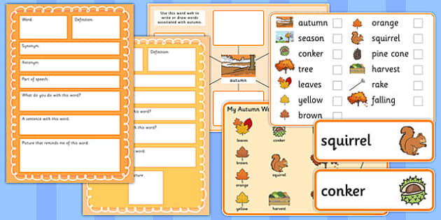 Autumn Pre-Teaching Vocabulary Pack - autumn, pre-teaching, vocabulary pack