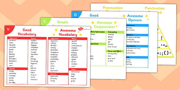 VCOP Table Reference Mats - table, cards, table cards, cards for the table, VCOP, vocaublary, connectives, openers, punctuation, vocabulary cards, connective cards, opener cards, punctuation cards, to keep on the table, desktop, desktop cards, desk c