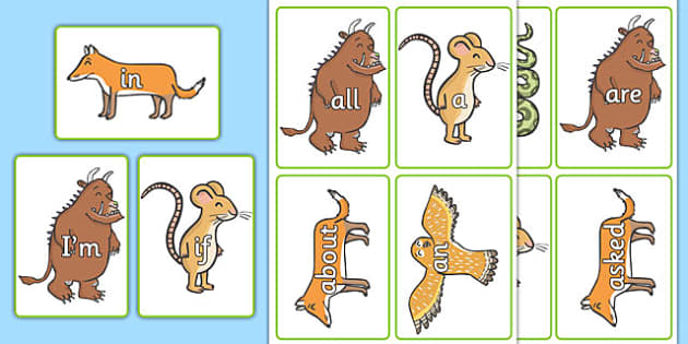 The Gruffalo High Frequency Words - gruffalo, high frequency, words, cards, labels