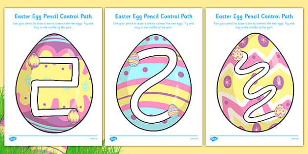 Easter Egg Pencil Control Path Activity Sheet Pack - easter egg, pencil control path, activity, sheets, worksheet