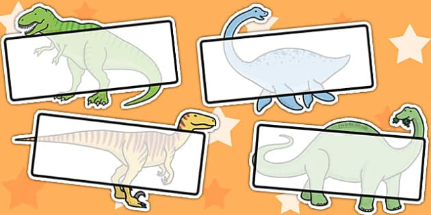 Editable Self Registration Labels (Dinosaurs) - Self registration, register, dinosaur, editable, labels, registration, child name label, printable labels