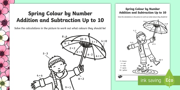 Spring Colour by Number Addition and Subtraction Up to 10 - 10