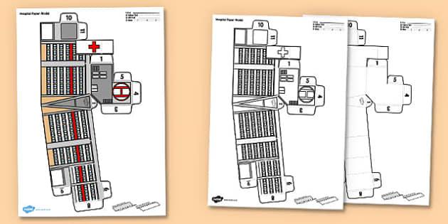 3D Hospital Paper Model Activity - 3d hospital, 3d, hospital, paper craft, paper model, paper, model, craft, activity