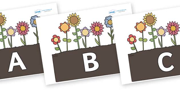 A-Z Alphabet on Garden Flowers - A-Z, A4, display, Alphabet frieze, Display letters, Letter posters, A-Z letters, Alphabet flashcards
