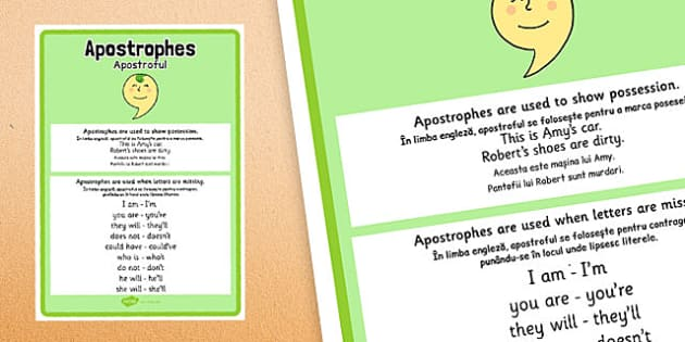 Apostrophes Punctuation Poster Romanian Translation - romanian, apostrophes, punctuation, poster, display