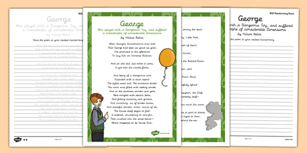 George Cautionary Tale Handwriting Poem Pack - george cautionary tale, handwriting, poetry, poem pack