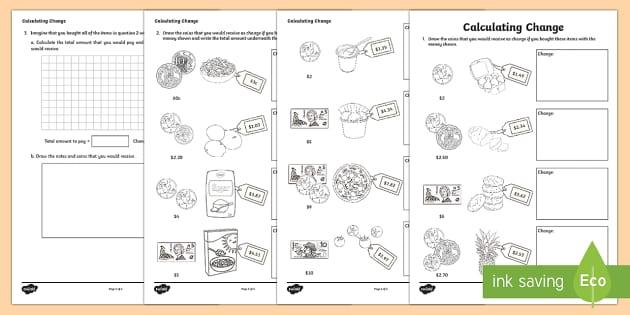 Calculating Change Activity Sheet-Australia - Australian currency, money, change, rounding, Australia, worksheet