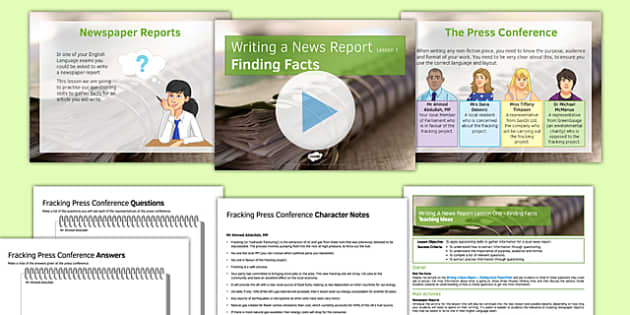 Writing a News Report Lesson One Finding Facts Lesson Pack - writing, news report, lesson one, facts
