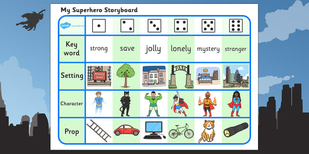 Superhero Storyboard Writing Activity - superhero, storyboard, story board, writing, activity