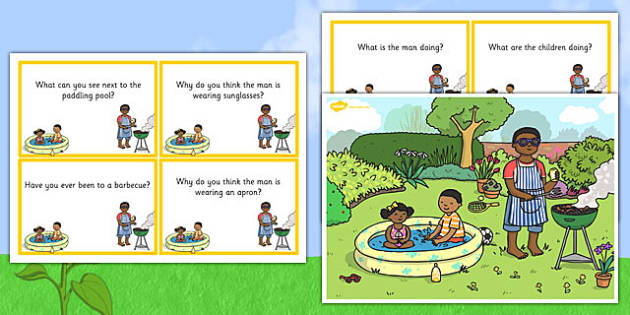 Summer Barbecue Scene and Question Cards